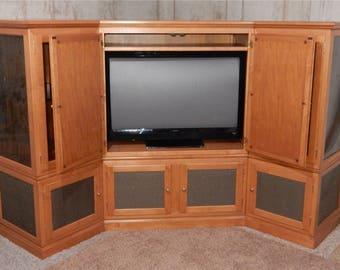 Handcrafted Furniture, Vintage Style Entertainment Center, Modular  Furniture, Corner Cabinet, Solid Maple Framework, TV Cabinet, Artisan
