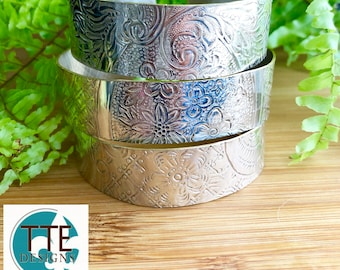 Up cycled Vintage Silverplate or Brass Tray Repurposed Cuff Bracelet