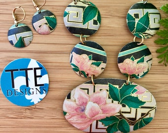 Cheerful Asian Inspired, Pink Green Black Gold Greek Key Up-cycled Zero Waste Vintage Tin Oval Necklace Set