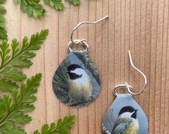 Hello My Little Chickadee Repurposed Vintage Tin Recycled Metal Zero Waste Earrings