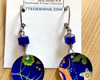 Vintage Tin Blue Floral Earrings with Charming accents