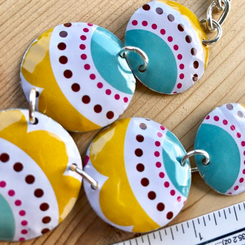 Lots of Dots Aqua Blue and Rich Yellow 5 Disc Vintage Tin Statement Necklace