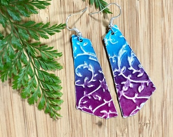 Beautiful Ombre Blue to Purple Trapezoid Shape Earrings with Embossed Floral Vines