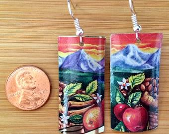 Vintage Tin Up Cycled Fuji Mountain Fruit Rectangle Earrings