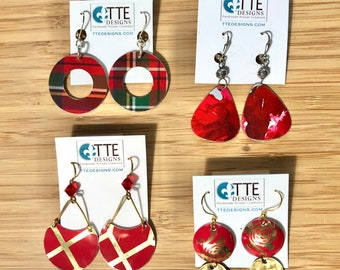 Vintage Tin Repurposed Upcycled Red Pattern Earrings