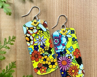 Vintage Tin Multi Colored Cheerful Long Rectangle Dog tag Dangle Earrings with Yellow Rivet Accents