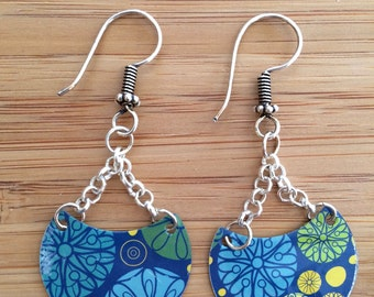 Sweet Fun Flirty Blue Floral Vintage Tin Half Moon Dangle Earrings