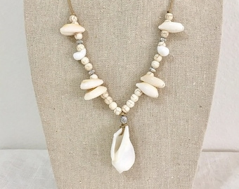 mermaid jewelry, beachcomber shell necklace, beach boho