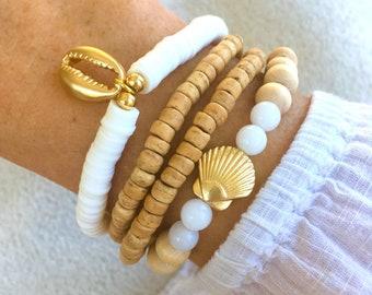 beach bracelet set, boho jewellery, shell bracelets