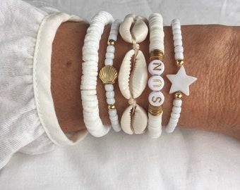 boho jewellery, beach bracelet stack, cowrie shell bracelet
