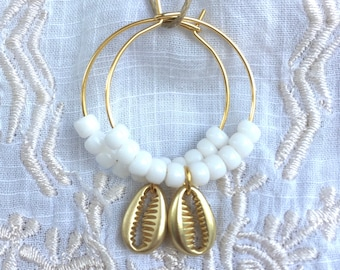 gold cowrie shell earrings, beach jewellery, gift for her