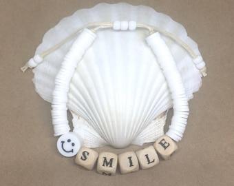heishi bead bracelet, letter bead jewellery, smile