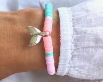 beach bracelet, mermaid jewellery, heishi bead bracelet