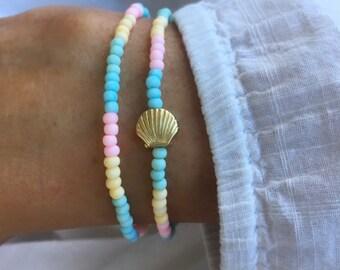 beach bracelets, mermaid jewellery, pastel rainbow bracelets