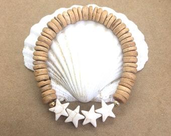 beach jewelry, coconut star bracelet