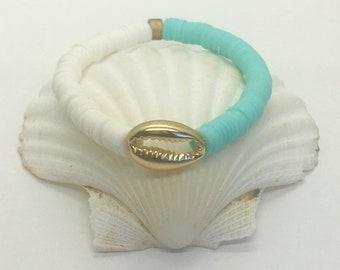 heishi bead bracelet, gold cowrie shell bracelet, beach jewellery
