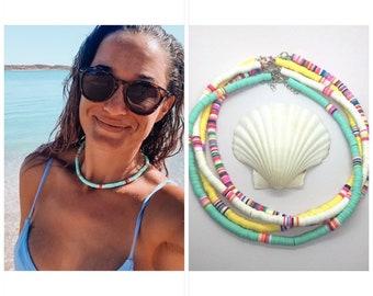 heishi bead necklace, beach boho surfer necklace