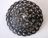 Rare Antique Domed Berlin Iron Latticework Cut Steel Brooch Pin Floral Motif 18th or 19th Century