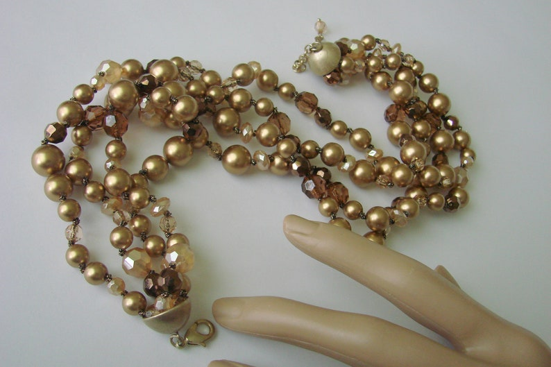 Retro Jewelry 1980s Vintage Bronze Amber Gold Aurora Borealis Bead Bid Necklace