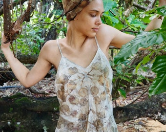 Natural Plant Dyed Pure Silk Satin Long length Camisole Top Size L