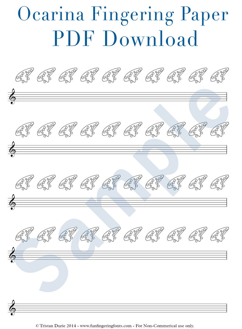 picture about Printable Tablature known as Ocarina Tablature / Fingering Paper: Obtain and Printable PDF - Wonderful for finding out and education ocarina