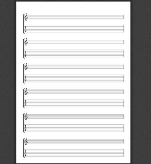 a4 guitar treble clef  u0026 tablature paper portrait  download