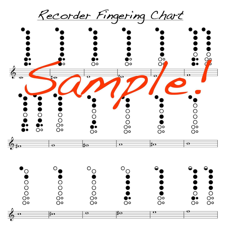 Recorder Finger Chart | Mini Recorder Fingering Chart Double Sided Laminated Chart Etsy