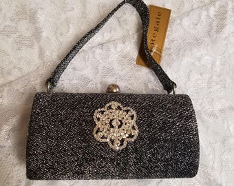 Handbag Salt and pepper color with beautiful crystals brooch, Evening small size bag salt and pepper, old hollywood handbag