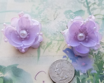 Lavender Hair little flowers, small flowers hair,bridesmaids Aqua blue hair clips, flower gils hair clips,something lavender, pageant, baby