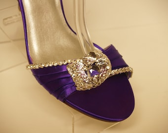 96a5fbde2d204a Purple Wedding Shoes Silver Swarovski Crystals