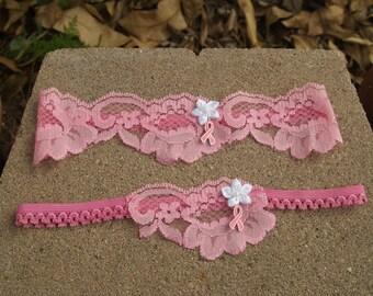 Garter Set Breast Cancer Awareness Pink Ribbon Fight Like a Girl Keepsake and Tosser Themed Weddings