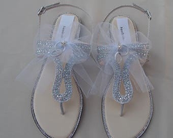 5d5fbe5dd Brides Honeymoon Sandals with white tulle veil and wedding  rings