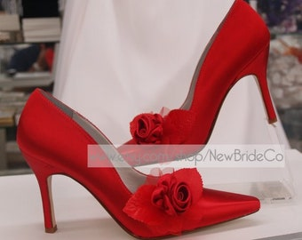 0a5e95ba2e8e Size 8 Red Satin Rose Wedding Sexy Heels Ready to ship