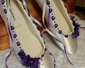 578308d826f0 PURPLE Wedding Flats silk flowers