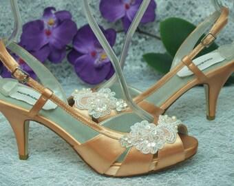 6844613a453f5 Size 8 1/2 Peach Wedding Bridal Shoes Ready to ship, Bridesmaids, Peep Toe  Satin Slingbacks, Small Platform, Midd Heel Length, Lace Applique