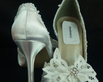 c1ce469427c6e Brides White Wedding Shoes Battenburg Lace Bow & Crystals,Satin Pump,Open  Toe Heels, Modern Retro,Victorian,Great Gatsby, Old Hollywood,Deco