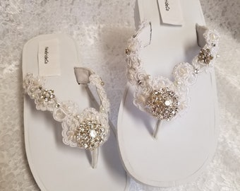 916ab206ff6862 White Wedding Sandals 100% Vegan Thongs embellished flip