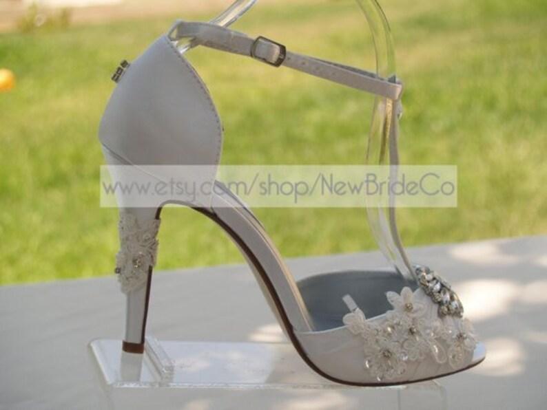 f604404bea33 Wedding Shoes High heels Modern style Open Toe T Strap Satin