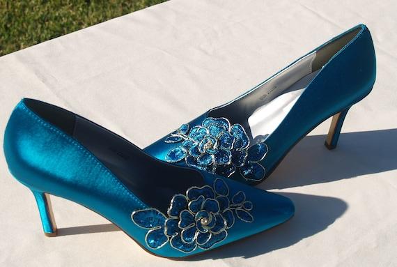 Shoes Teal Satin Lace Wedding Heels Sexy Teal Heels3  bdc298ea6991