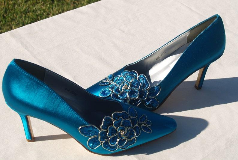 b99b15f5b463b Shoes Teal Satin Lace Wedding Heels Sexy Teal Heels,3 1/2