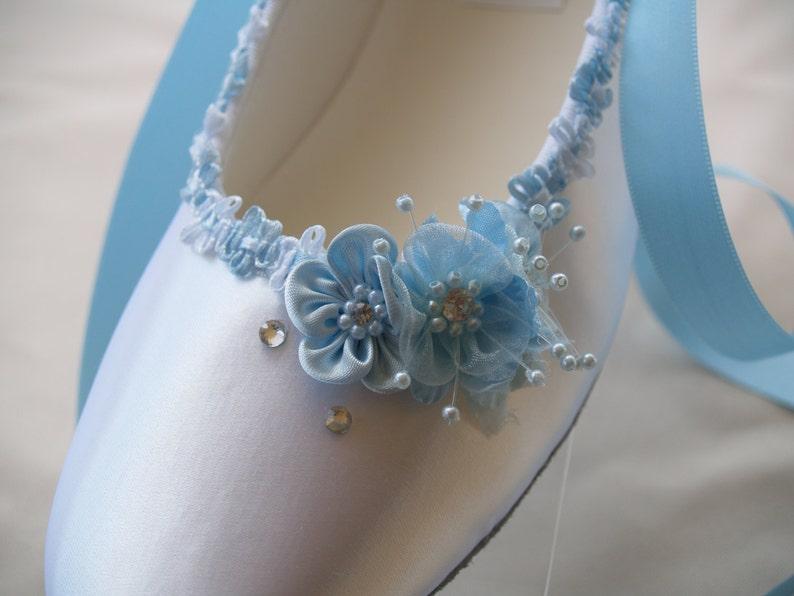 2e80350c7d6 Blue Bridal Flats White Satin Shoes Blue Wedding Shoes US