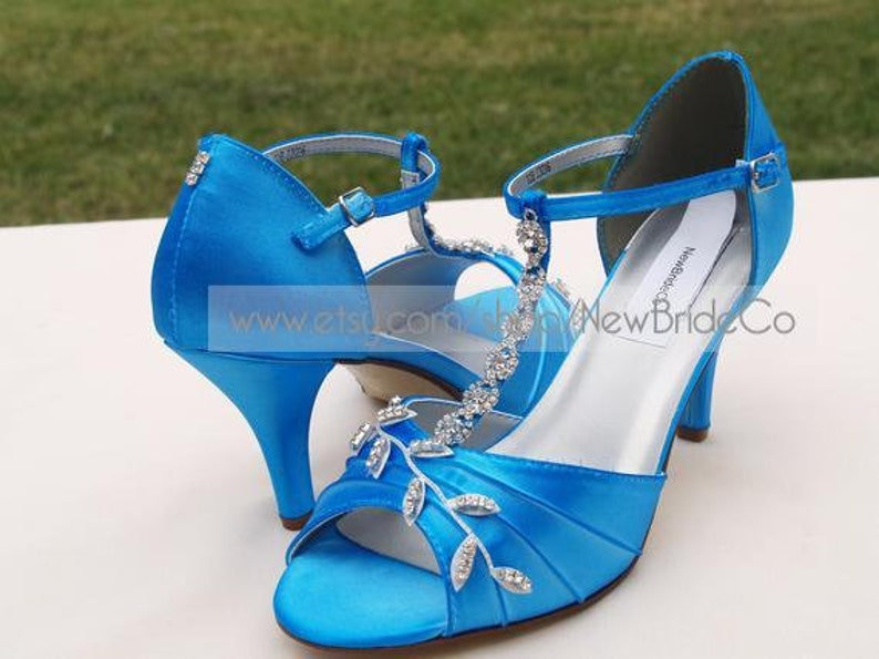 fae556752 Blue Wedding Shoes with Silver Swarovski CrystalsMid high   Etsy