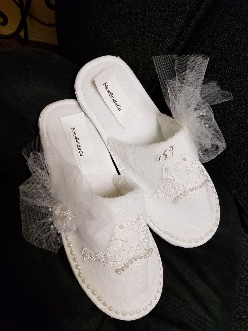 9a5fdca486cfa Bride Honeymoon Slippers with loving birds tulle veil one set of  rings,Bridal Slippers, Brides Comfort,Bridal Shower Gift,Wedding Slippers