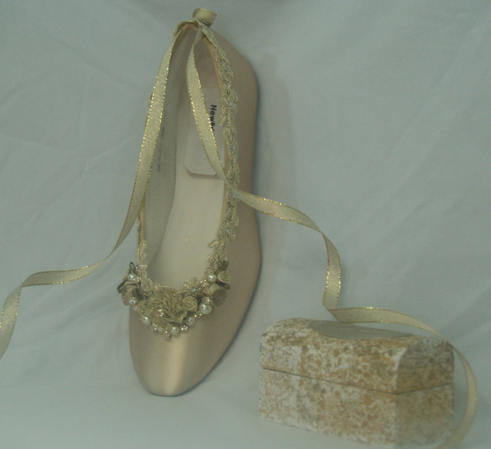 wedding size 6 flats champagne gold hand dyed, gold rosette flowers ready to ship, pearls & crystals, lace up ballet style slipp