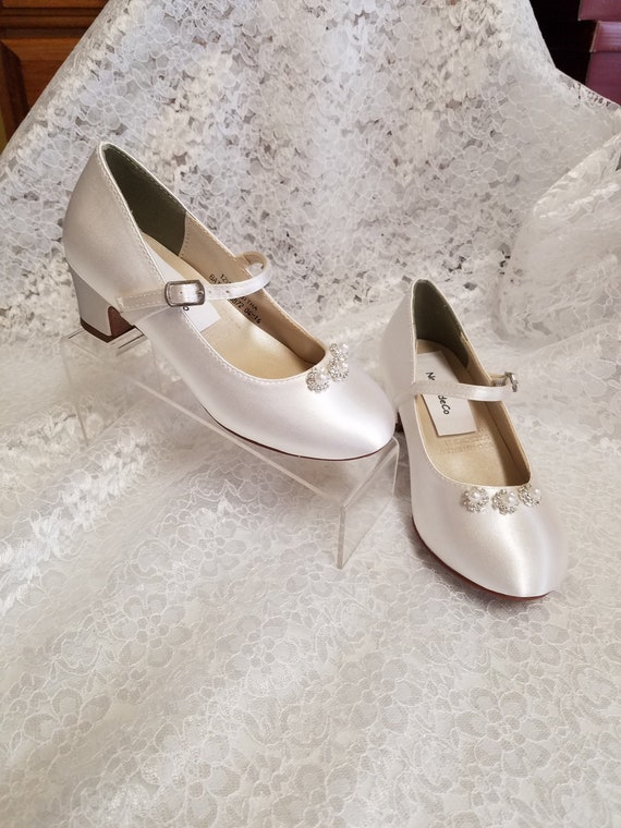 Girls Communion Shoes Crystals pearls