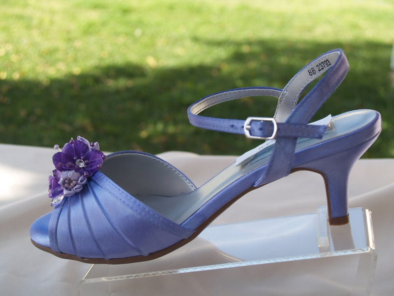 5d4683e7505a Purple Wedding Shoes low 2 heel flowers crystalsShort