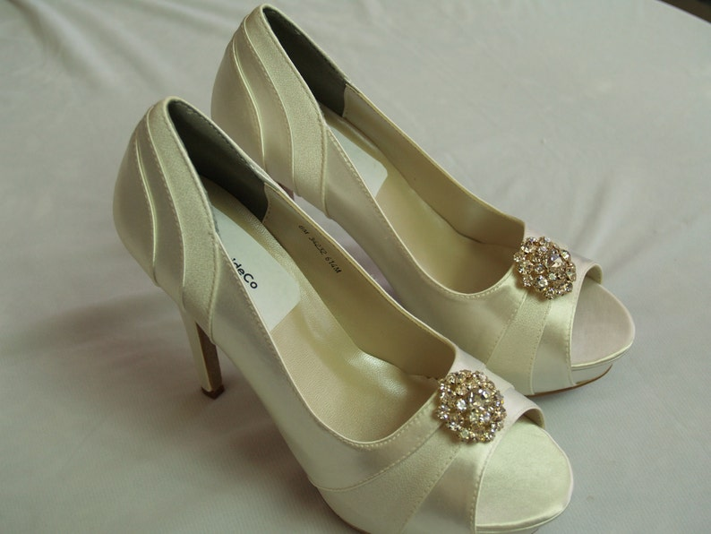 01e602f8888 Wedding Shoes 4 inch heels IvoryGold with Swarovski Crystals