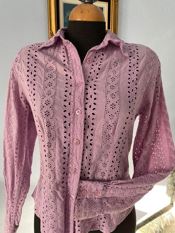 Lilac eyelet Vintage Blouse long sleeves US size … - image 6