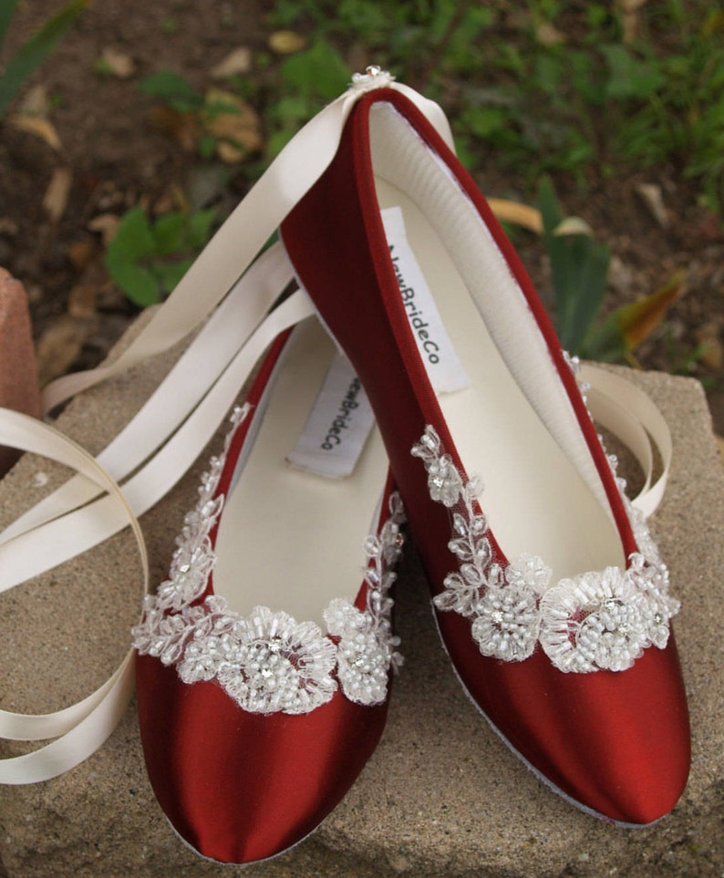 487cbefd727 Burgundy Flats embellished w Ivory beaded bridal lace