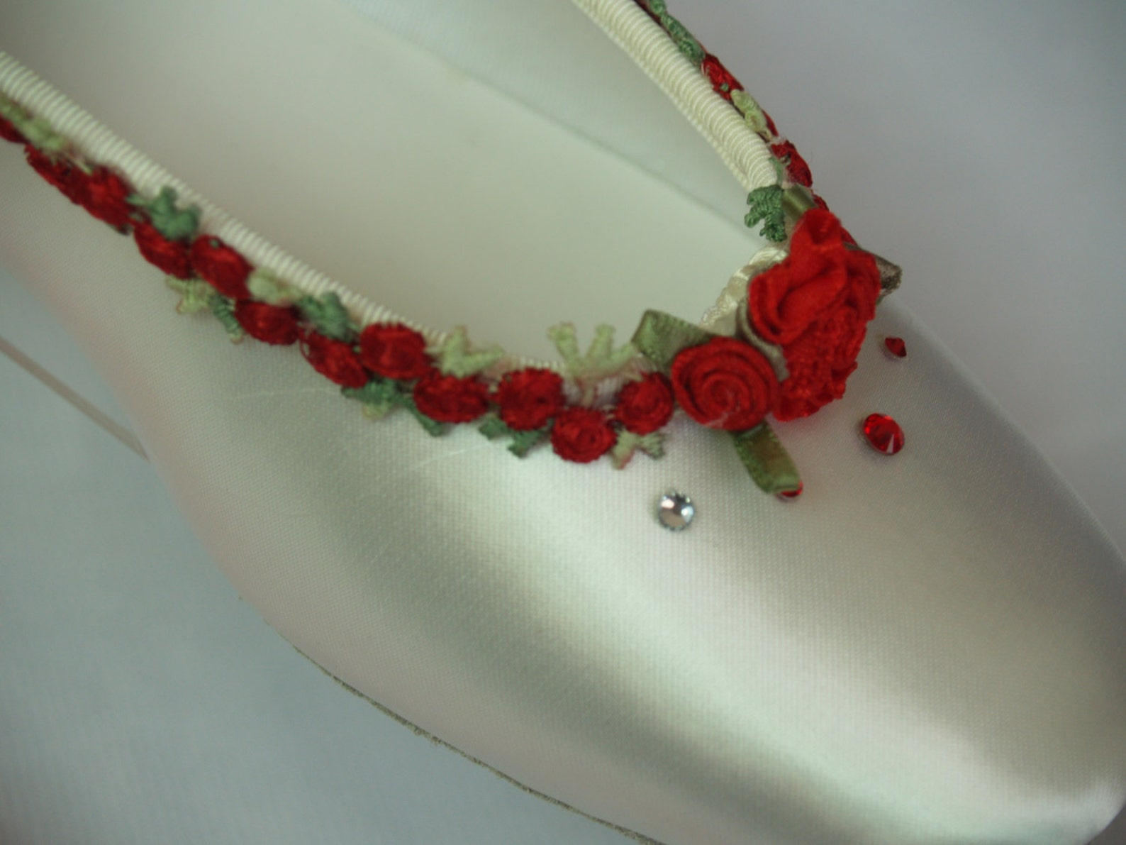 wedding red flowers flats ivory or white ballet style slipper style lace up ribbon style, romantic, valentine's day, touch o